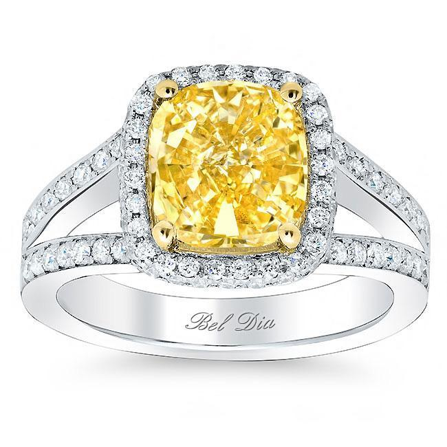 Cushion Yellow Diamond Split Shank Engagement Ring Yellow Diamond Engagement Rings deBebians