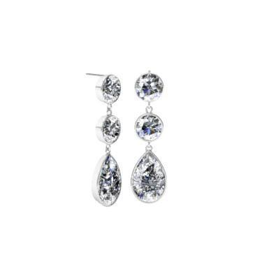 Dangling Pear and Round Diamond Earrings Gift Ideas Over $1500 deBebians