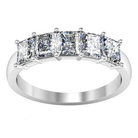 1.50cttw Shared Prong Radiant Cut Diamond Five Stone Ring Five Stone Rings deBebians