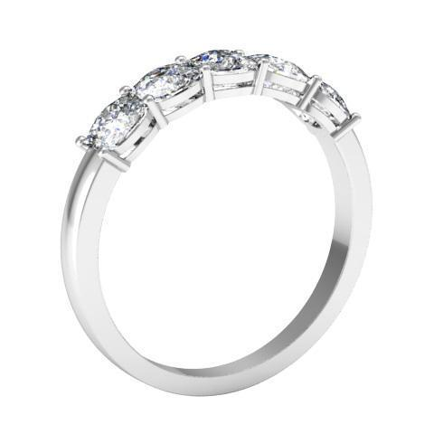 1.50cttw Shared Prong Cushion Cut Diamond Five Stone Ring Five Stone Rings deBebians