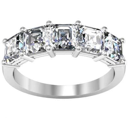 0.50cttw Shared Prong Aquamarine and Diamond Five Stone Ring