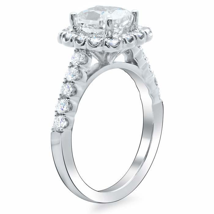 Diamond Accented Cushion Halo Engagement Ring