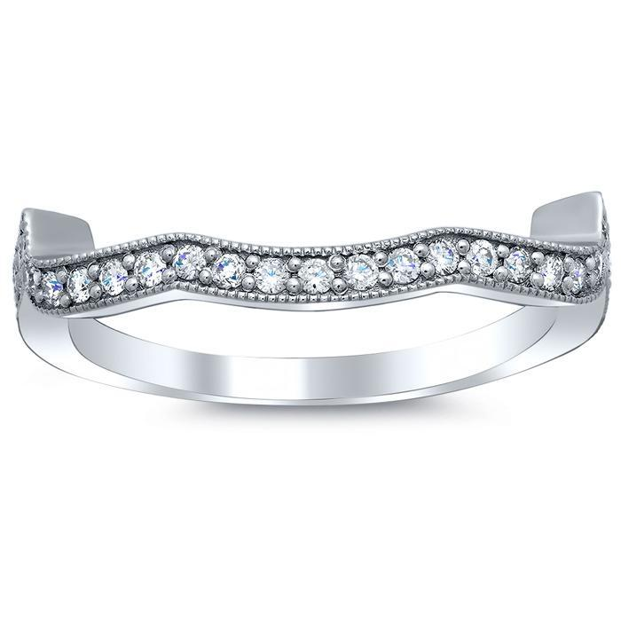 Diamond Accented Milgrained Matching Wedding Band Half Eternity Rings deBebians