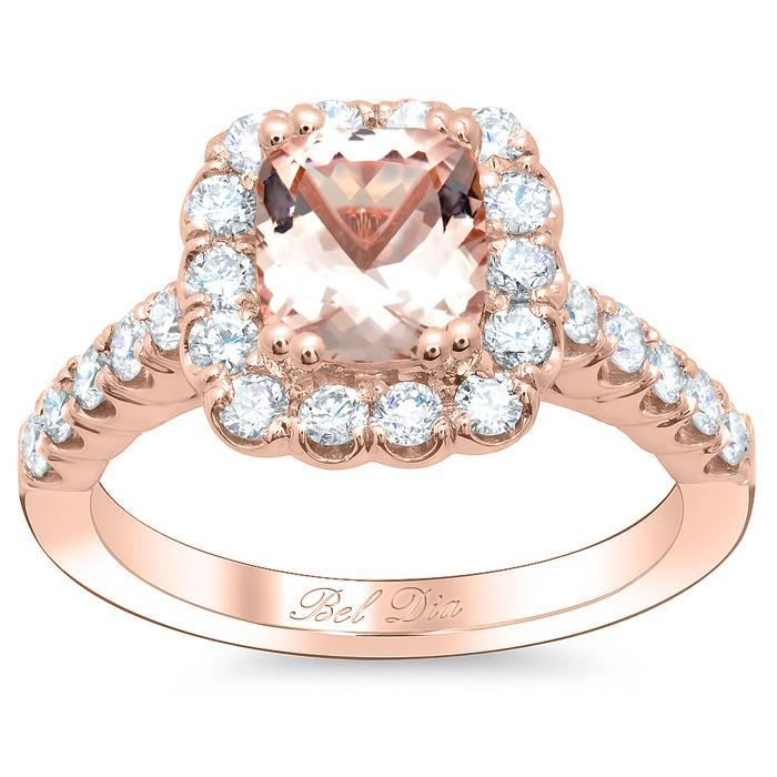 Diamond Accented Morganite Halo Engagement Ring Rose Gold & Morganite Engagement Rings deBebians