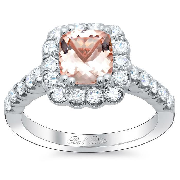 Diamond Accented Morganite Halo Engagement Ring