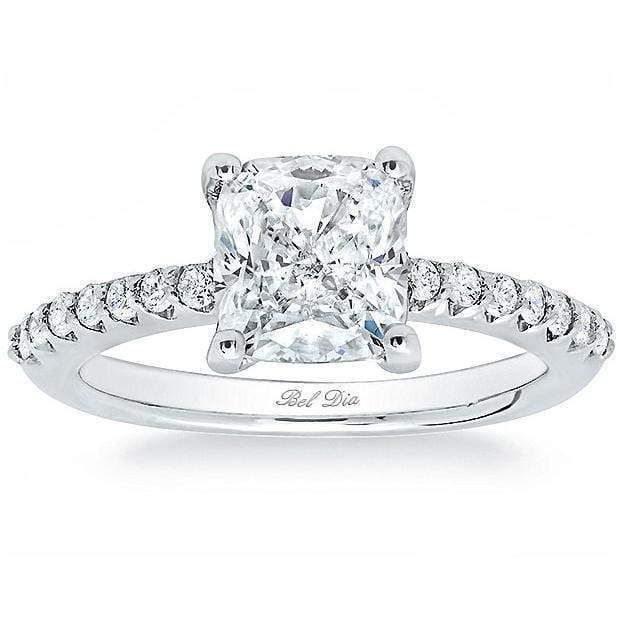 Forever One Radiant Charles & Colvard Pave Engagement Ring Moissanite Engagement Rings deBebians