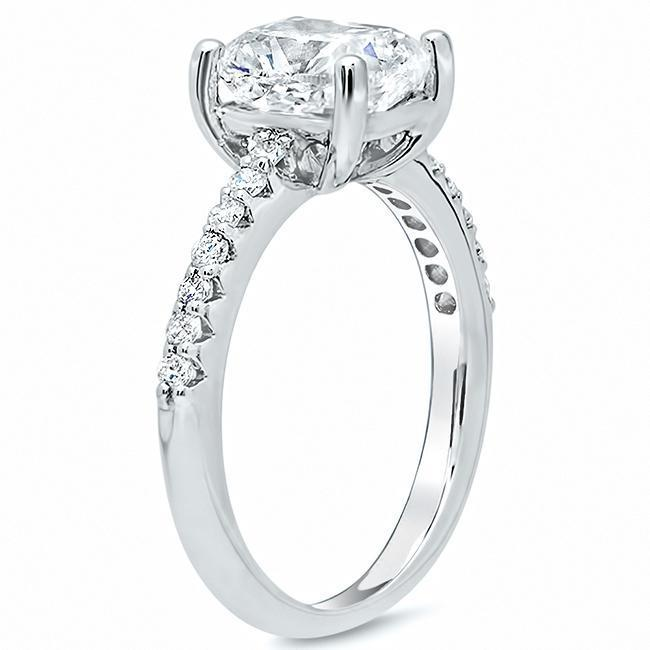Square Pave Engagement Ring Diamond Accented Engagement Rings deBebians