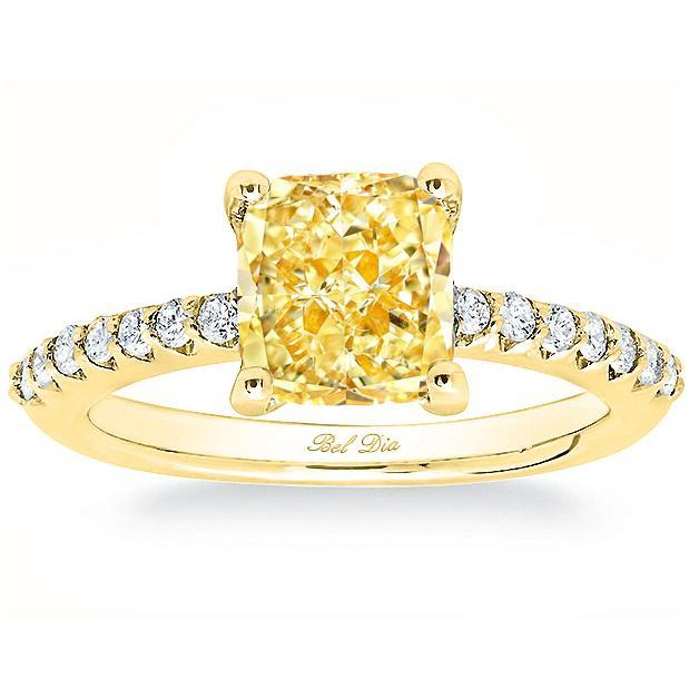 Diamond Accented Yellow Diamond Engagement Ring Yellow Diamond Engagement Rings deBebians