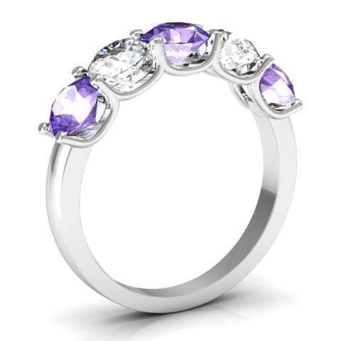 2.00cttw U Prong Amethyst and Diamond Five Stone Ring Five Stone Rings deBebians