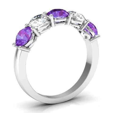 2.00cttw Shared Prong Diamond and Amethyst Five Stone Ring Five Stone Rings deBebians