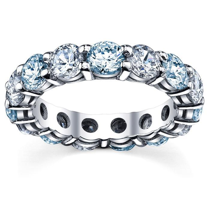 Diamond and Aquamarine Birthstone Eternity Band Gemstone Eternity Rings deBebians