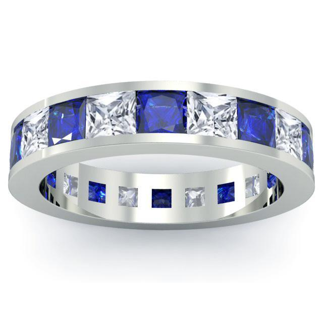 Diamond and Blue Sapphire Eternity Wedding Band Gemstone Eternity Rings deBebians