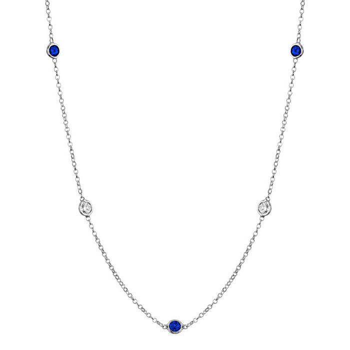 Gemstones by the Inch Necklace with Blue Sapphire Gemstone Station Necklaces deBebians