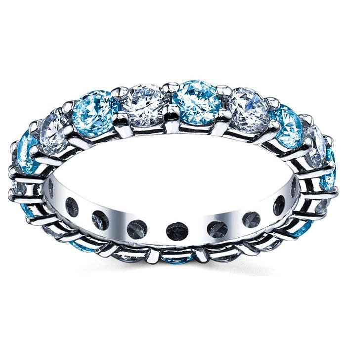 Diamond and Blue Topaz Anniversary Ring Gemstone Eternity Rings deBebians