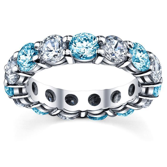 Diamond and Blue Topaz Wedding Band Gemstone Eternity Rings deBebians
