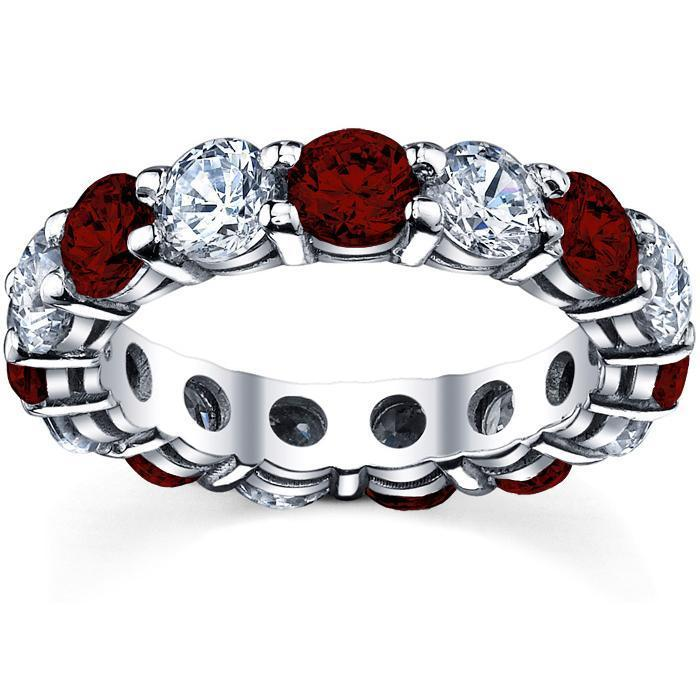Diamond and Garnet Birth Stone Eternity Ring Gemstone Eternity Rings deBebians