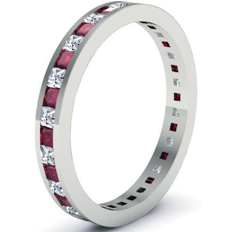 Diamond and Garnet Eternity Band