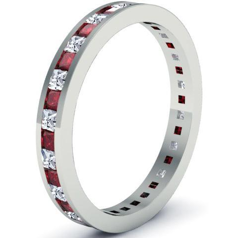 Diamond and Garnet Eternity Band Gemstone Eternity Rings deBebians