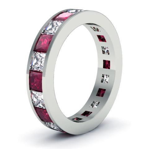 Diamond and Garnet Eternity Wedding Band Gemstone Eternity Rings deBebians