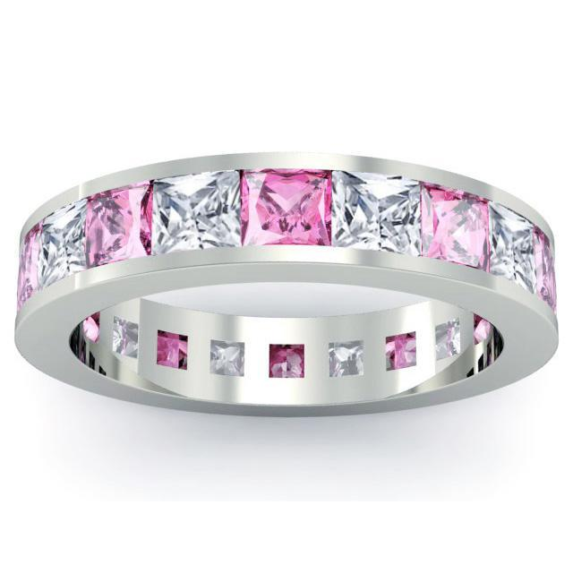 Diamond and Pink Sapphire Eternity Wedding Band Gemstone Eternity Rings deBebians