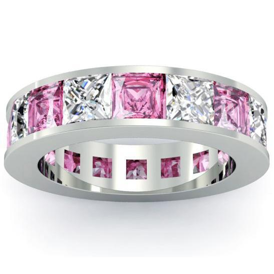 Diamond and Pink Sapphire Gemstone Eternity Band Gemstone Eternity Rings deBebians