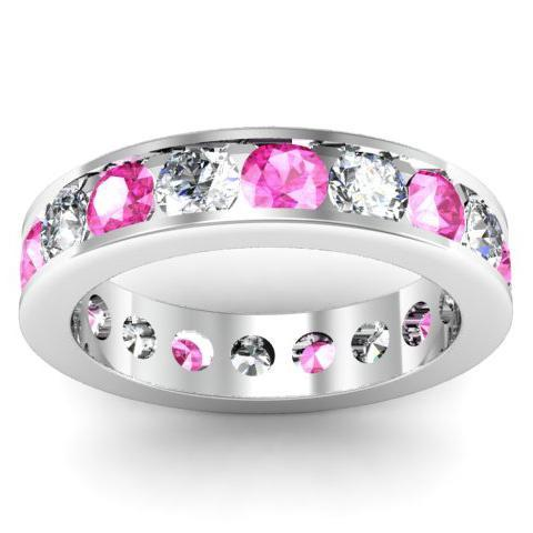 Diamond and Pink Sapphire Round Gemstone Eternity Band in Channel Setting Gemstone Eternity Rings deBebians