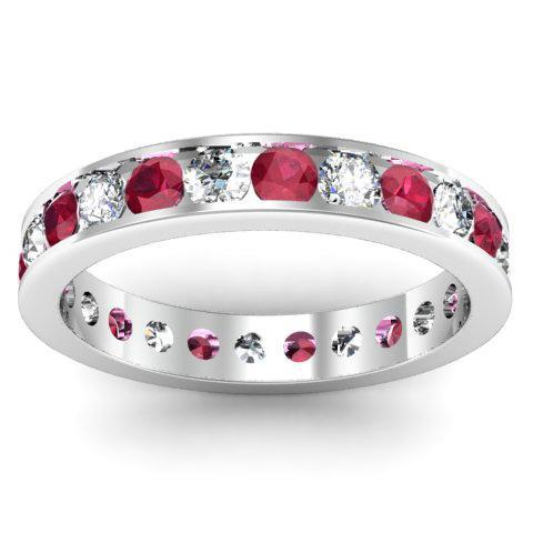 Diamond and Ruby Eternity Band in Channel Setting Gemstone Eternity Rings deBebians