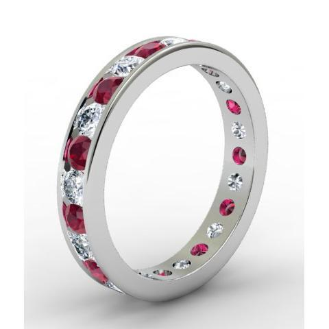 Diamond and Ruby Eternity Band in Channel Setting