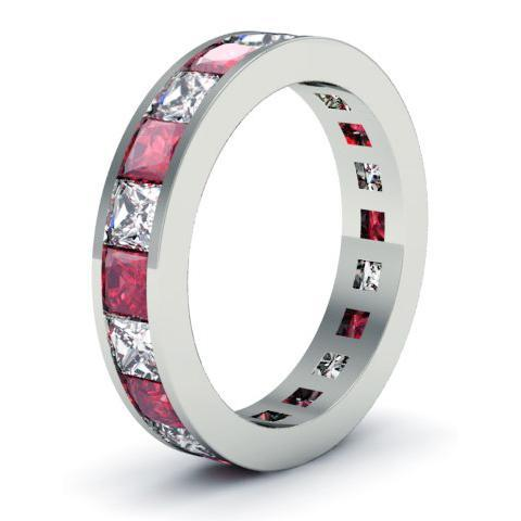 Diamond and Ruby Eternity Wedding Band Gemstone Eternity Rings deBebians