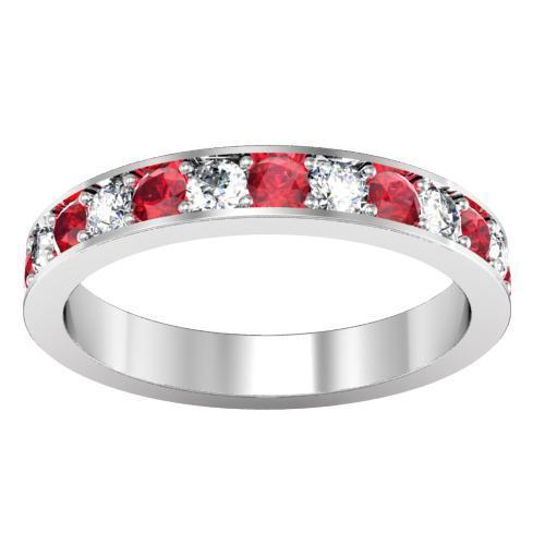 Diamond and Ruby Pave Eternity Ring (1.30 cttw) Gemstone Eternity Rings deBebians