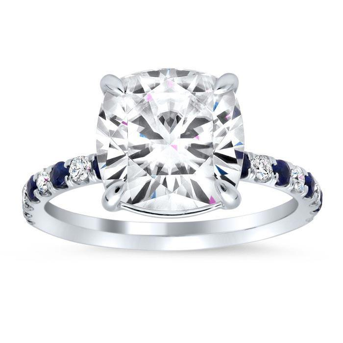 Diamond and Sapphire Accented Engagement Ring Sapphire Engagement Rings deBebians