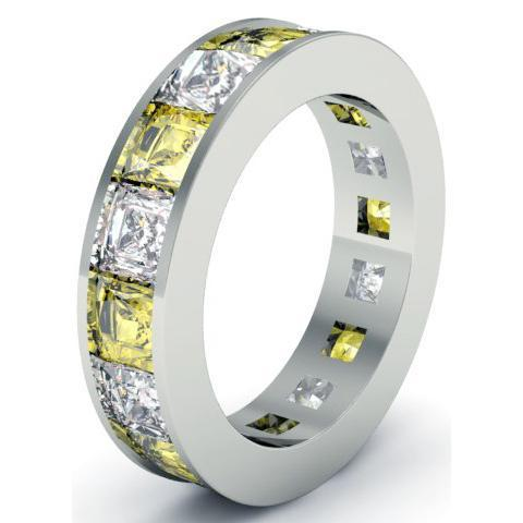 Diamond and Yellow Sapphire Gemstone Eternity Band Gemstone Eternity Rings deBebians