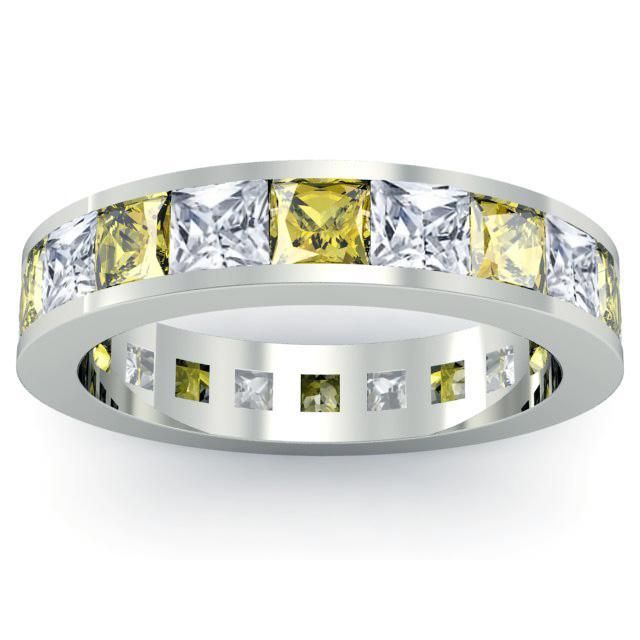 Diamond and Yellow Sapphire Gemstone Eternity Wedding Ring Gemstone Eternity Rings deBebians