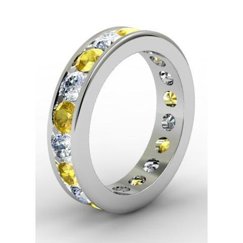 Diamond and Yellow Sapphire Round Gemstone Eternity Ring in Channel Setting Gemstone Eternity Rings deBebians