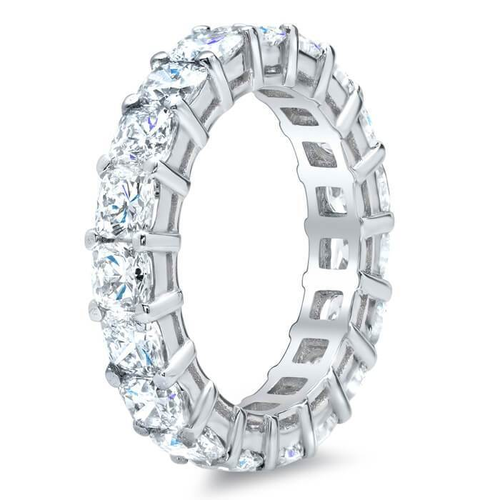 Cushion Cut Shared Prong Diamond Eternity Band - 4.00 carat - SI Clarity Diamond Eternity Rings deBebians