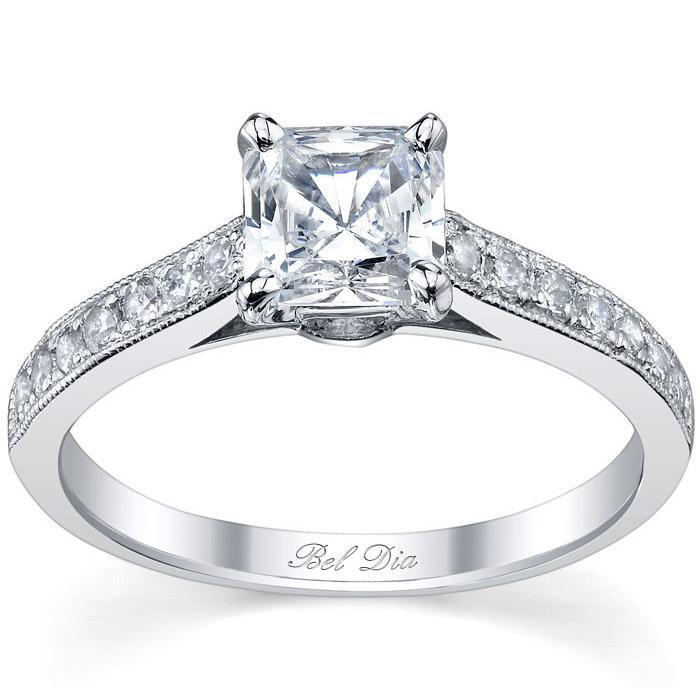 Princess Cut Engagement Ring Diamond Accented Engagement Rings deBebians