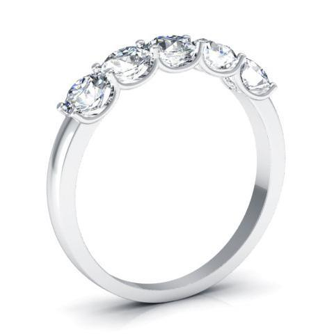 1.00cttw U Prong Round Diamond Five Stone Ring Five Stone Rings deBebians