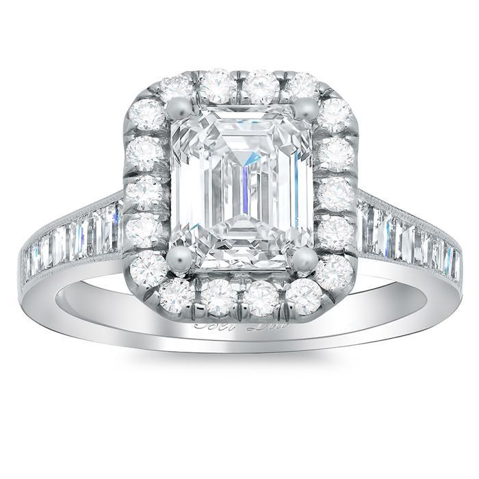 Diamond Halo Engagement Ring with Tapered Band Halo Engagement Rings deBebians