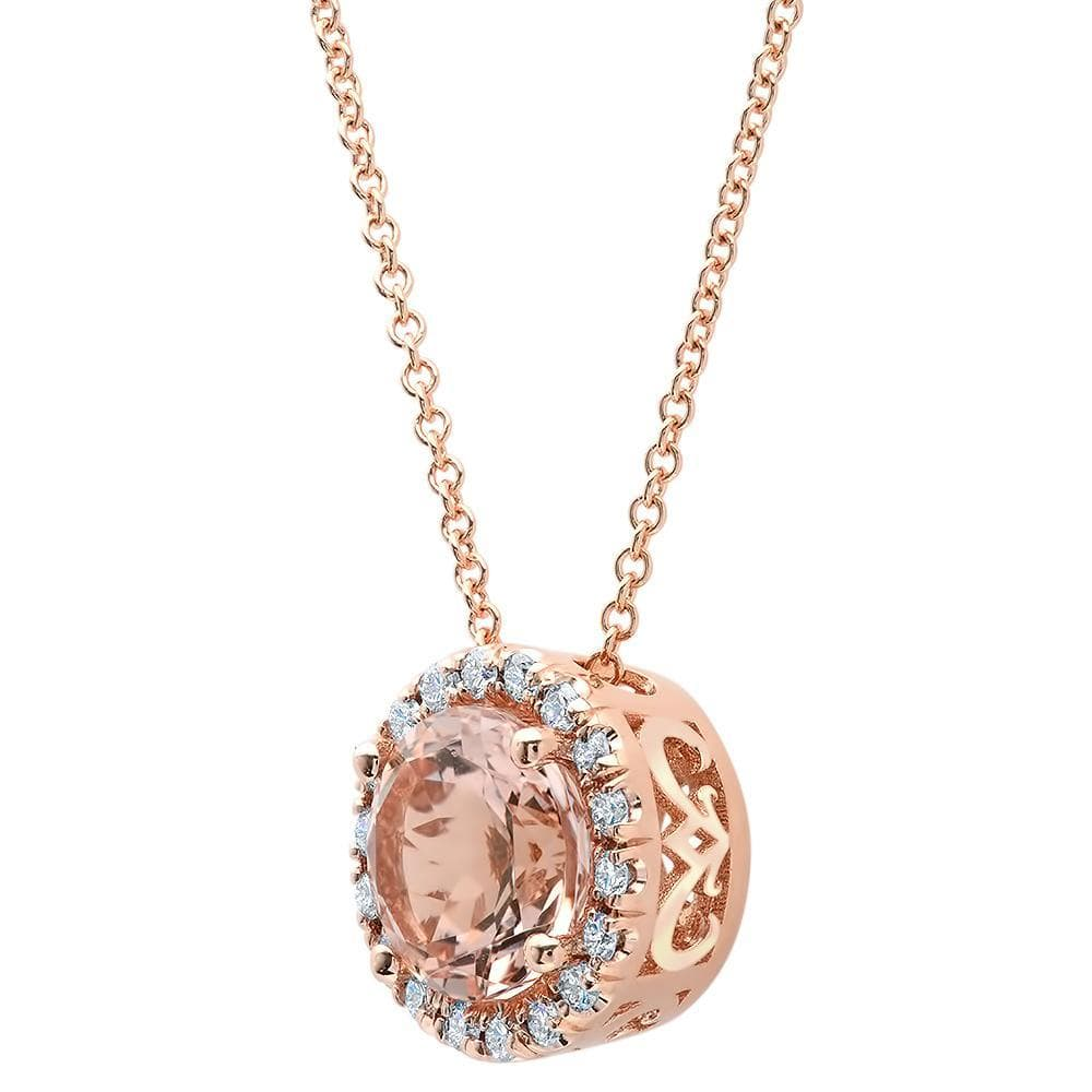 Diamond Halo Morganite Pendant Diamond Necklaces deBebians