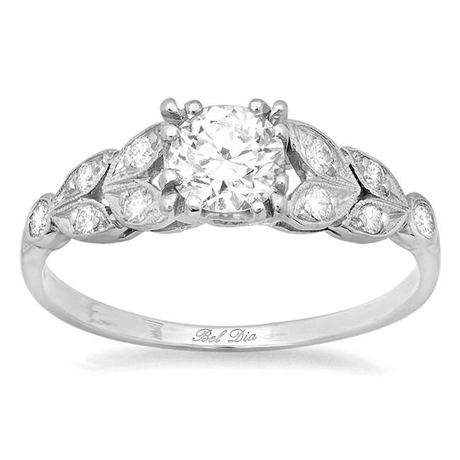 Diamond Leaf Accented Nature Inspired Engagement Ring Diamond Accented Engagement Rings deBebians