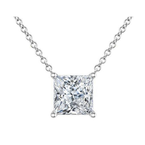 Diamond Princess Cut Pendant