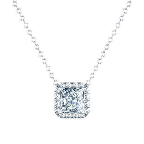 Diamond Square Halo Pendant Diamond Necklaces deBebians