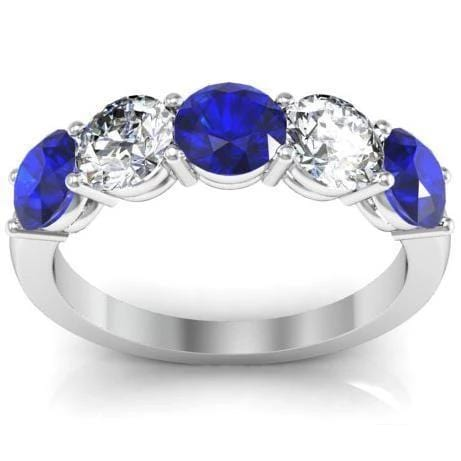 2.00cttw Shared Prong Blue Sapphire and Diamond Five Stone Ring Five Stone Rings deBebians