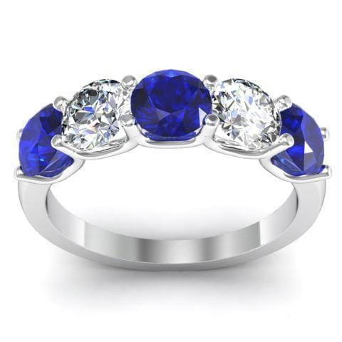 2.00cttw U Prong Blue Sapphire and Diamond Five Stone Band Five Stone Rings deBebians
