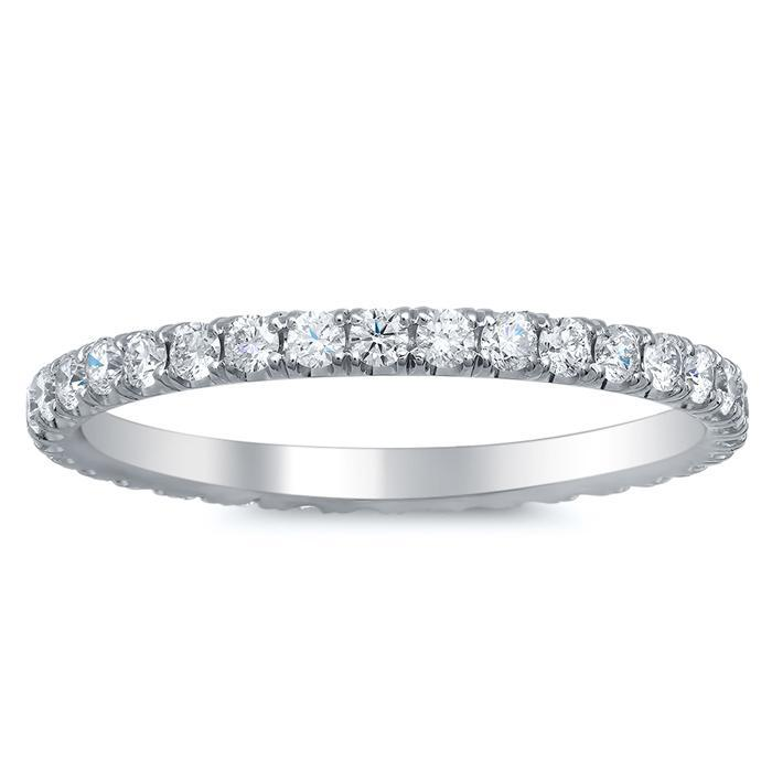 Round U Pave Set Diamond Eternity Band - 0.55 carat Diamond Eternity Rings deBebians