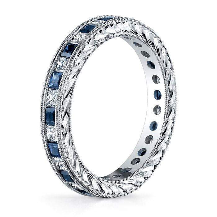 Diamond Eternity Wedding Ring Band with Sapphires or Rubies in Channel Setting Gemstone Eternity Rings deBebians