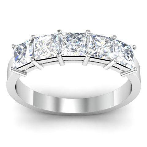 1.50cttw Shared Prong Princess Cut GIA Certified Diamond Five Stone Ring Five Stone Rings deBebians