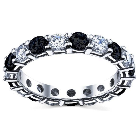 3.00cttw Diamond Eternity Ring Black and White Gemstone Eternity Rings deBebians