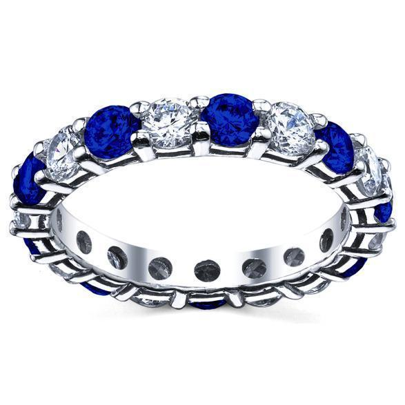 3.00cttw Diamond and Blue Sapphire Eternity Ring Gemstone Eternity Rings deBebians