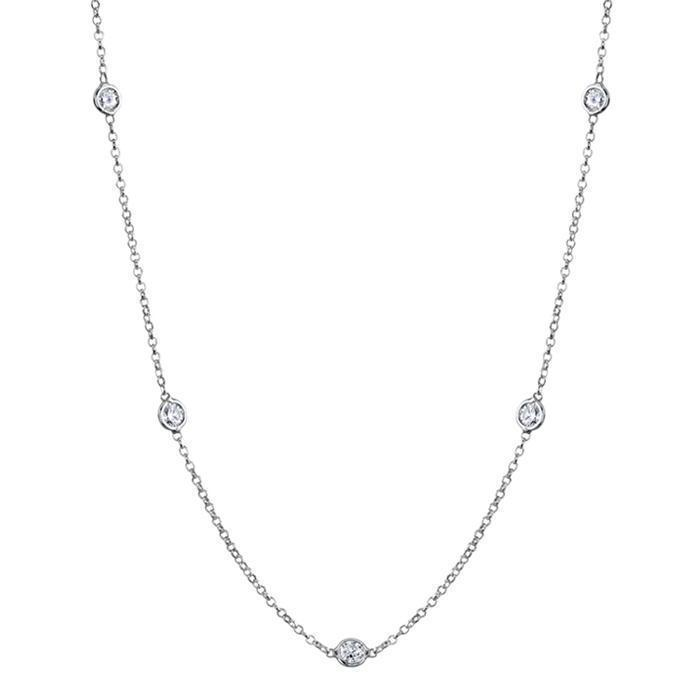 0.70 cttw Diamond Bezel Set Station Necklace Necklaces deBebians